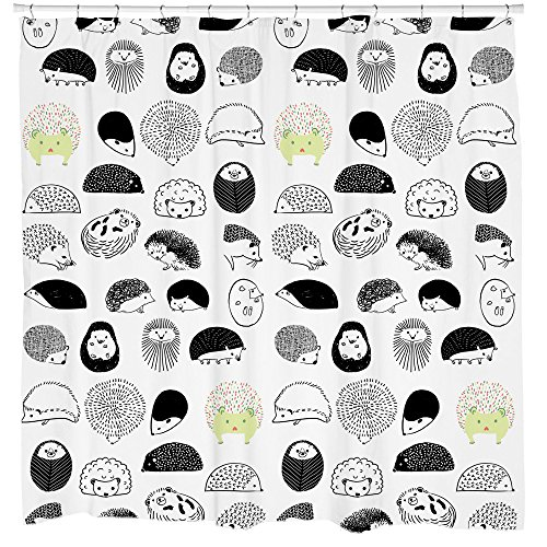 Hedgehog Shower Curtain with Repeating Critter Pattern Boho
