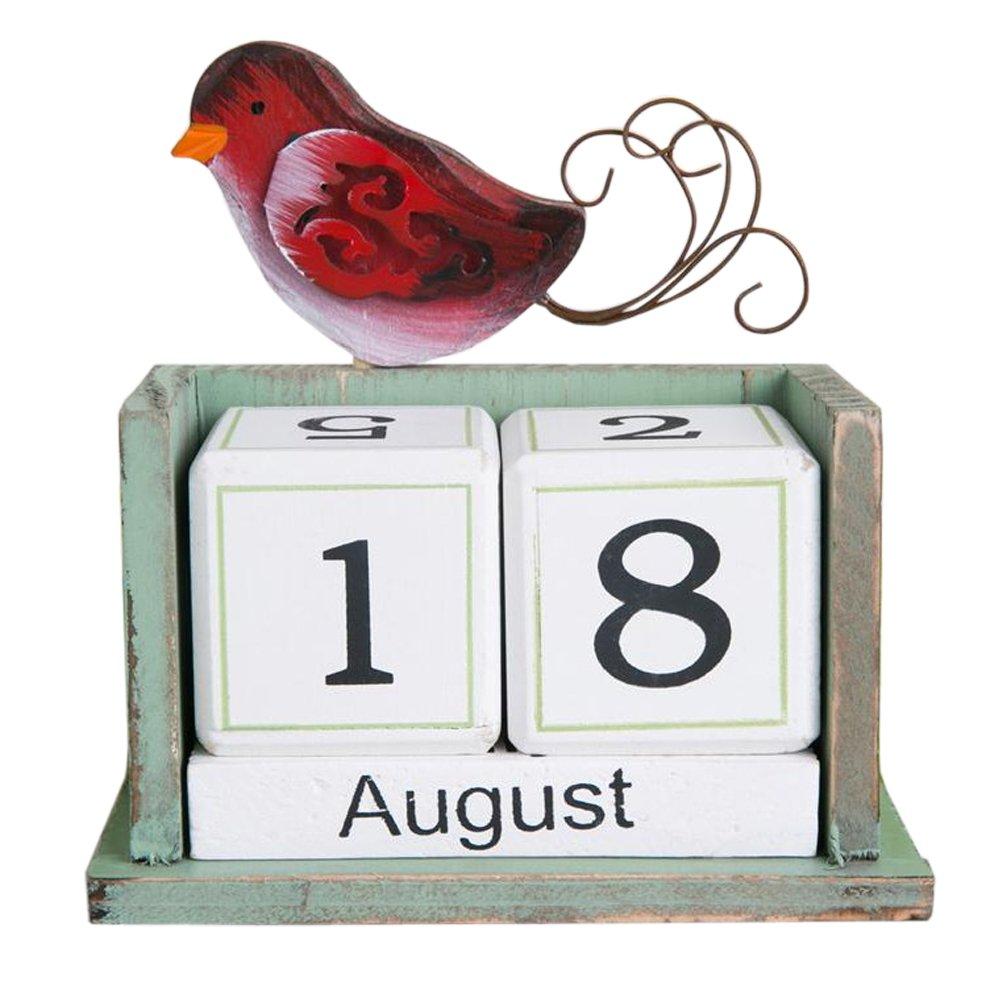 Olpchee Creative Vintage Desktop Desk Wooden Perpetual Block Calendar for Home Office Decoration (Bird)
