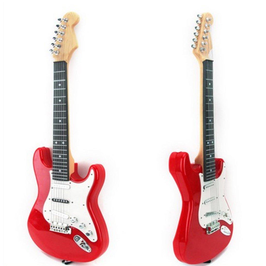Ans 6 Cordes Guitare Electrique Enfant Jouet Guitare Instrument de Musique /éducatifs pour D/ébutant Enfant Garcon Fille de 3 Rouge OVERWELL Guitare Enfant