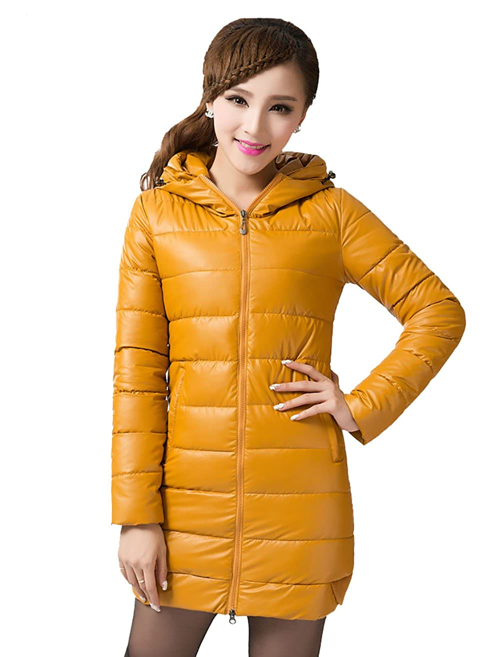 Comvison Winter Womens Thickened Down Jacket Warm Long Down Jackets Hooded Coat 6 Color Size