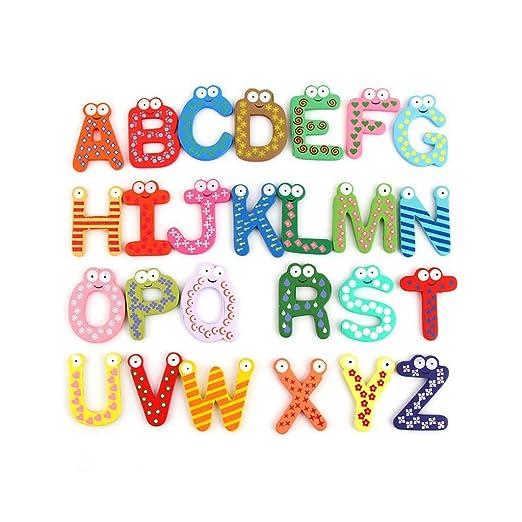 Junlinto, 26 Piezas de Madera Alfabeto de Dibujos Animados ...