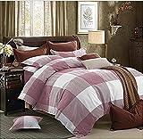 Getmorebeauty Lattice Soft Bed Quilt Doona Duvet Cover Set Queen Size (Pink)