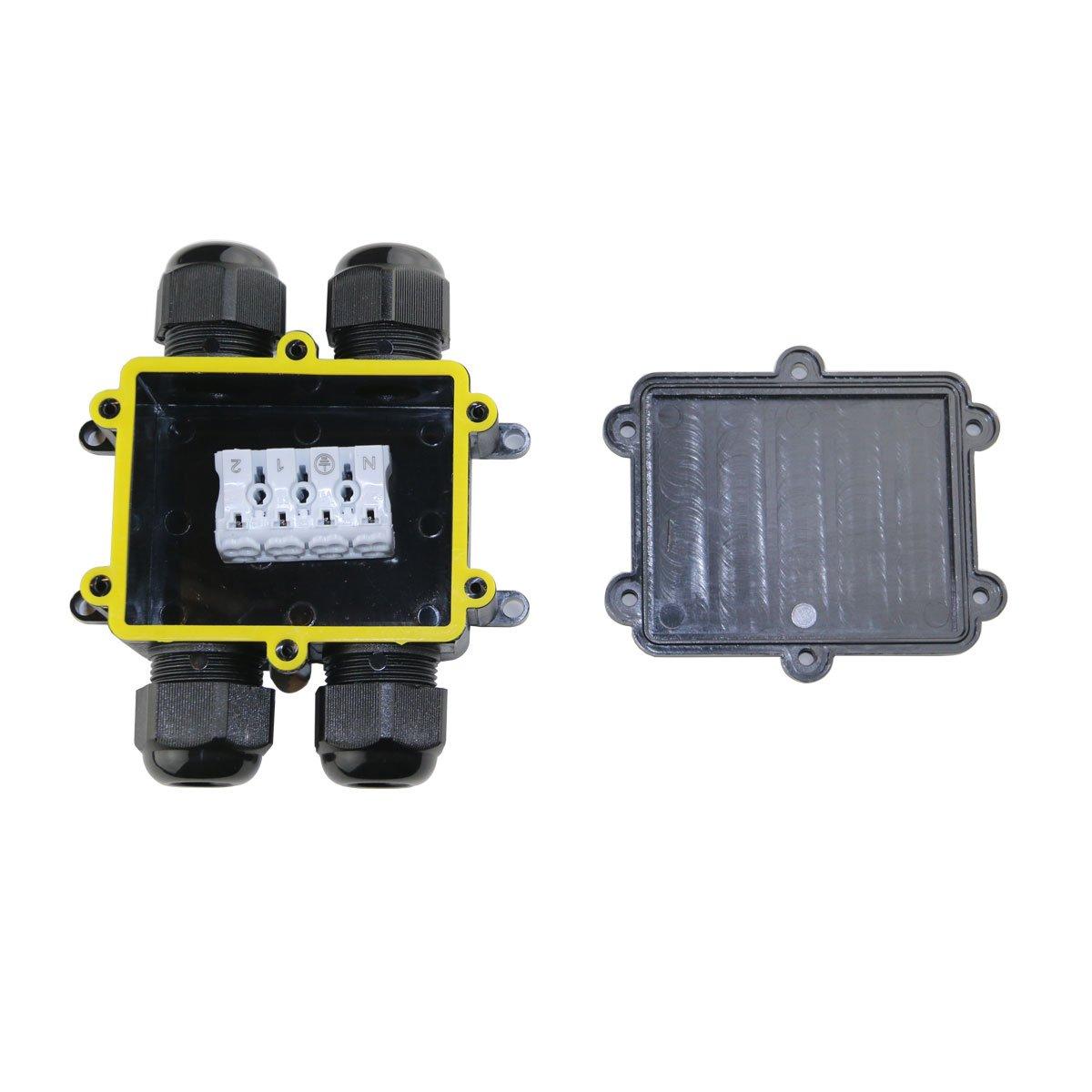 resistente al agua fijo IP66/compartimento de 2 vbled Caja de conexi/ón de cable conector empalmes