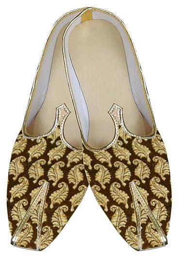 Mens Golden Brocade Wedding Shoes Floral MJ0019