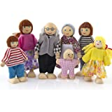 MCYs Wooden Furniture Dolls House Family Miniature 7 People Doll Toy For Kid Child