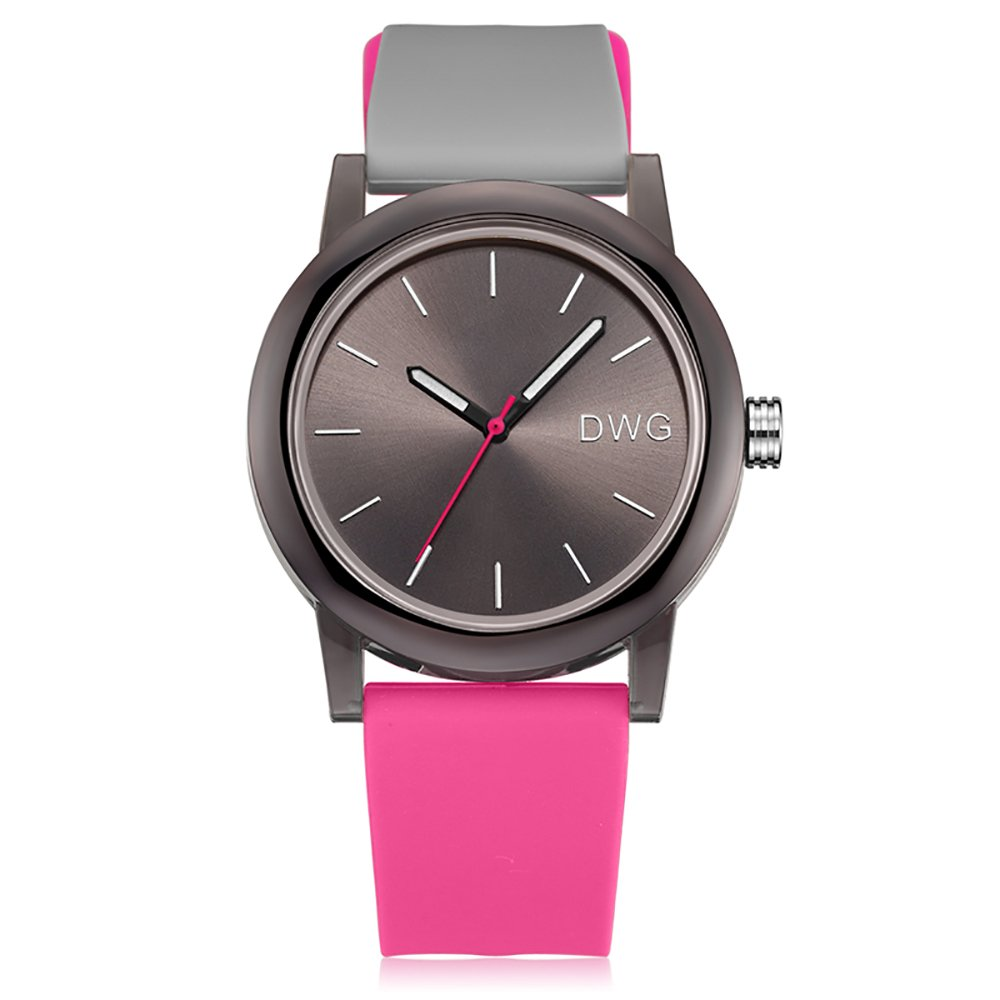 Silicone Quartz Watch Men Women Casual Analog Jelly Unisex Wrist Watch Simple Fashion Design Nice Colors Sport Watches (Pink Strap&Black Dial)