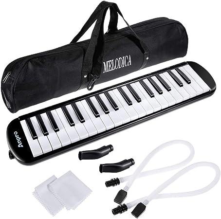Anpro 37 Teclado de melodía con 2 boquillas, instrumento musical con bolsa de transporte para la enseñanza y el juego