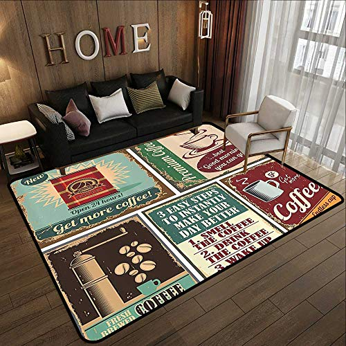 Kitchen Rugs,1950s Decor Collection,Coffee Posters and Metal Signs Artistic Design Bean Cup Tin Espresso Mug Cappuccino Logo,Ivory Re 47