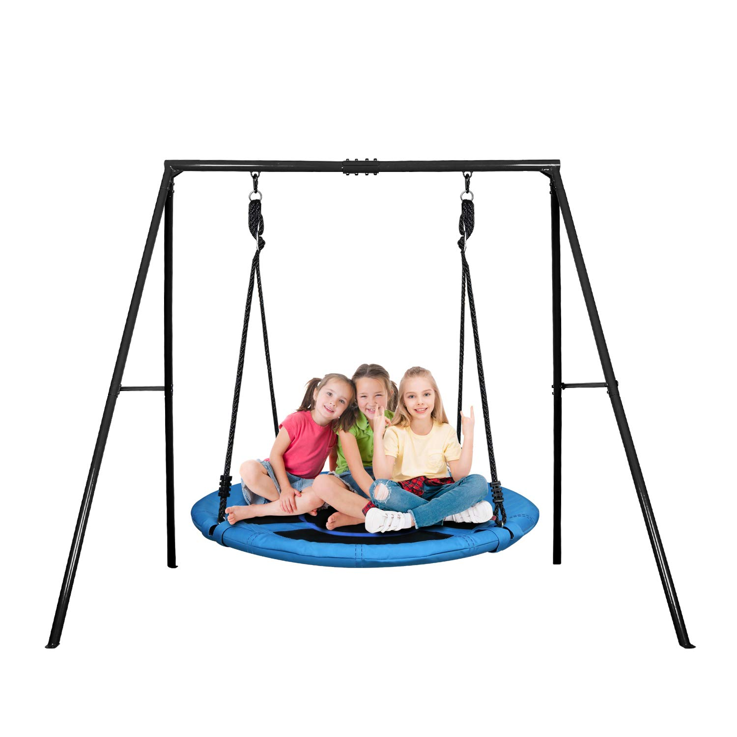 Trekassy 40 Inch Saucer Tree Swing Set with 440lbs Heavy Duty A-Frame Metal Swing Stand by Trekassy