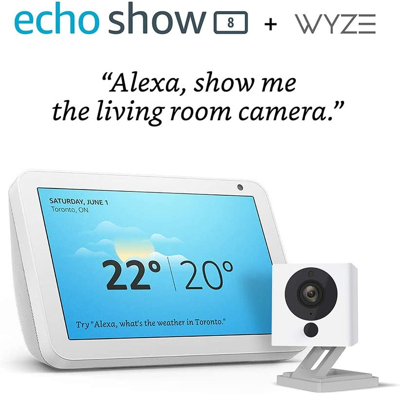 Echo Show 8 (Sandstone) with Wyze 1080p indoor smart home camera