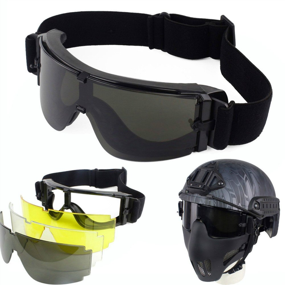 Enshey Safety Goggles Glasses -Military Tactical Airsoft Paintball 3 Interchangeable Multi Lens with Bag(Black/Yellow/Transparent) by Enshey
