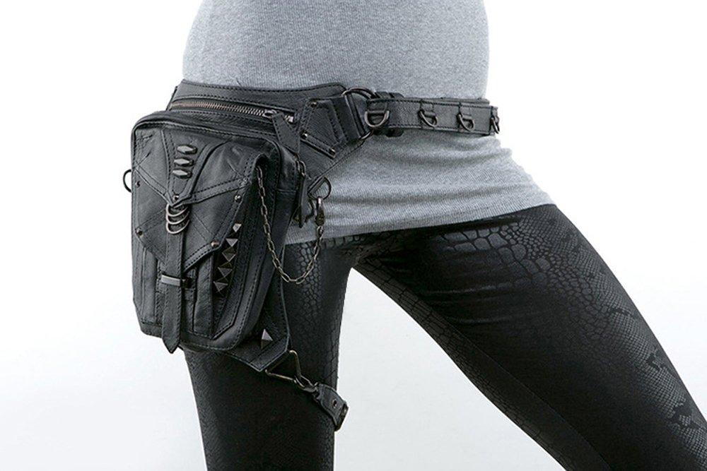 UIYTR Black Gothic Rock PU Leather Steampunk Handbag Waist Pack Vintage Punk Shoulder Messenger Bag