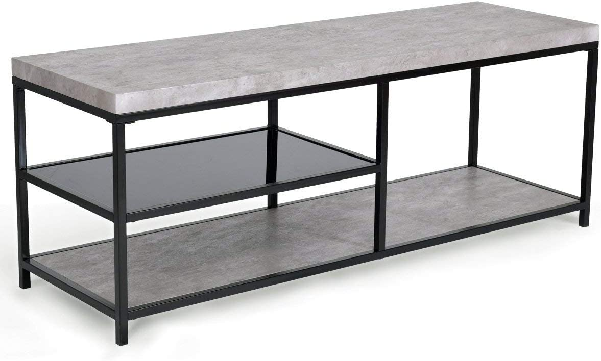 Giantex Accent Modern Coffee Table in Living Room Industrial Style Metal Frame Tempered Glass Middle Shelf Sofa Side Rectangular Cocktail Coffee Table Gray with 2 Shelf
