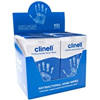 Clinell Antibacterial Hand Wipes - Dermatologically Tested - 8 Box of 100 Individual Sachets, 8 Box of 100 individual…