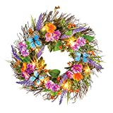 Collections Etc Mixed Floral Blue Butterfly Lighted Twig Door Wreath Front Porch Summer Decoration