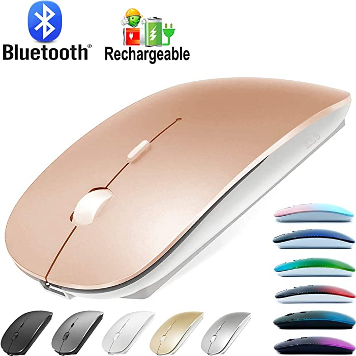 Bluetooth Mouse for MacBook pro/MacBook air/Laptop/iMac/ipad, Wireless Mouse for MacBook pro MacBook Air/iMac/Laptop/Notebook/pc(Bluetooth Mouse/Rose Gold)