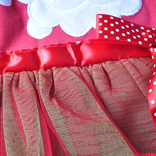 Kids Girls Christmas Dress Santa Claus Long Sleeve Lace Cotton Polka Dot Dress