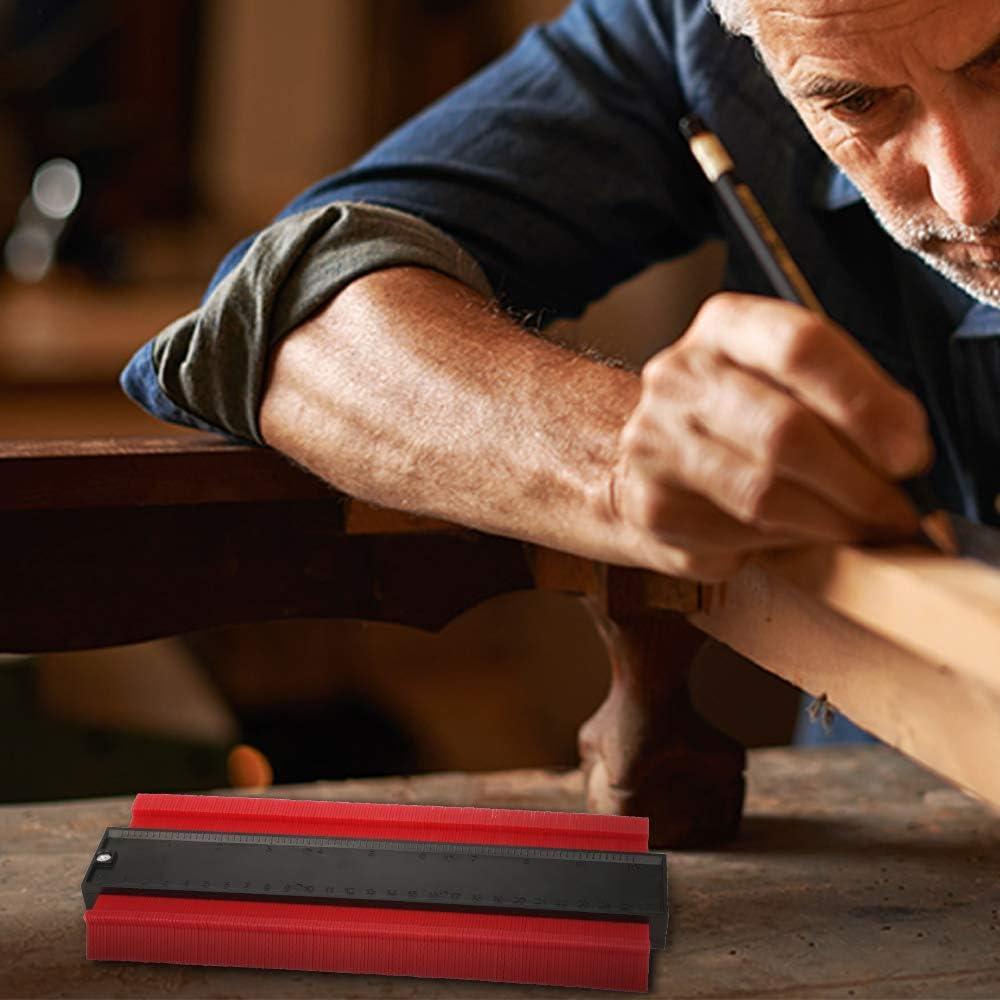 Copieur de Contour 25 cm Contour Duplication Gauge Jauge de Profil/é R/ègle de Mesure Vegena Jauge de Contour en Plastique Outil de Marquage du Bois pour Pr/écision de Mesure de Carrelage Rouge