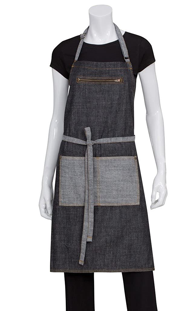 Chef Works Manhattan Bib Apron (AB034) Chef Works Apparel AB034-BLK-0