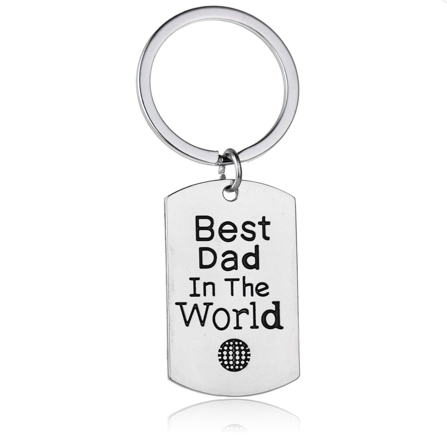 Fathers and Dads Birthday Gift Best Dad in The World Keychain Gift for Dad Fineder 1 Pack Key Chain Ring for Dad