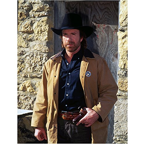 Walker, Texas Ranger 8 x 10 Photo Chuck Norris Black Cowboy Hat & Tan Jacket w/Badge kn]()