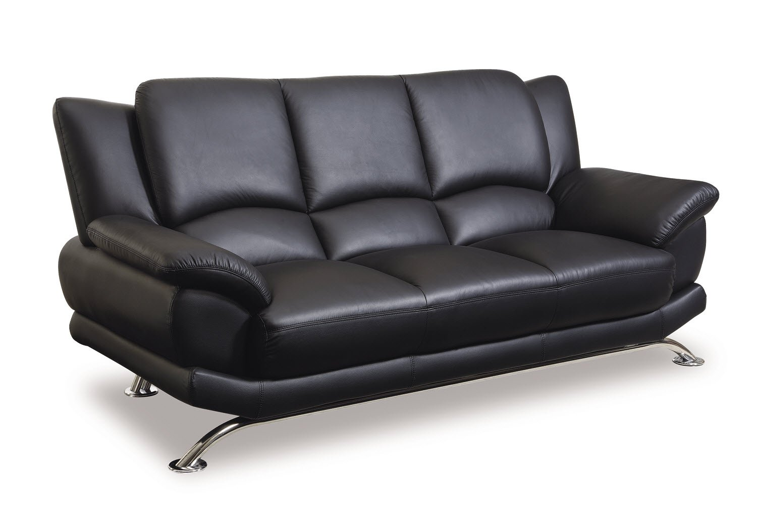 Global Furniture Rogers Collection Bonded Leather Matching Sofa, Black with  Chrome Legs