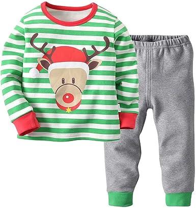 Fosheng Kids Pajamas Long Sleeve Pants Sanding Cotton Sleepwear Baby Homewear