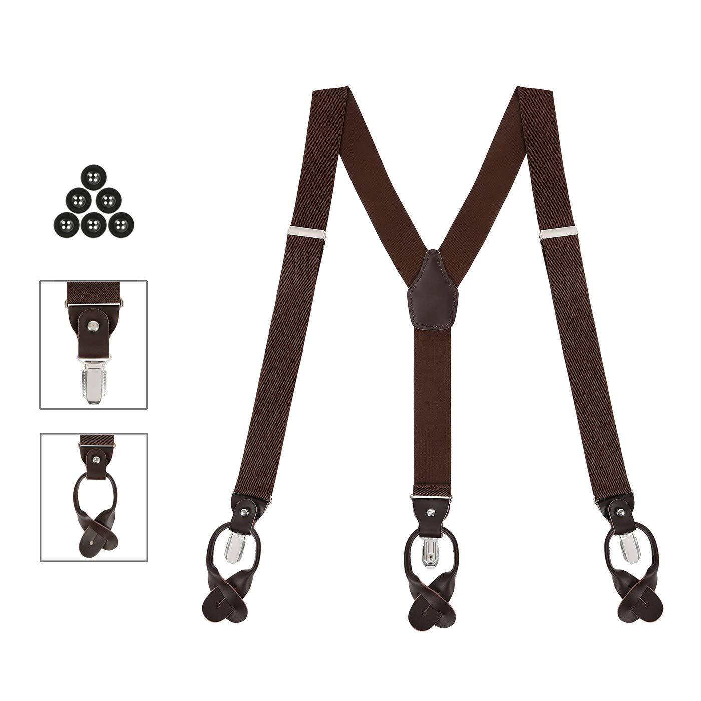 HDE Convertible Suspenders for Men Button End Clip Adjustable Shoulder Straps HDE-54023