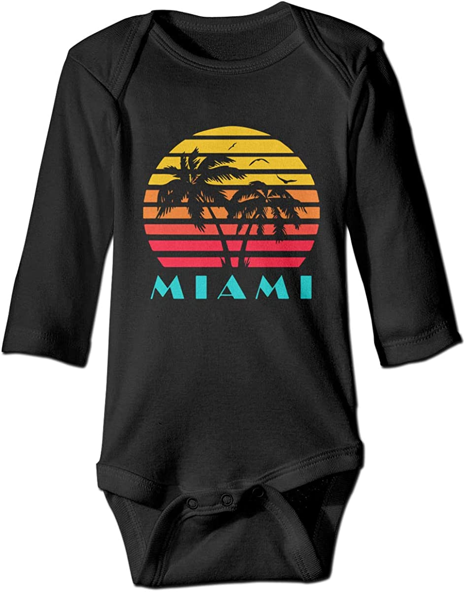 Miami 80s Sunset Printed Baby Infant Girls Long Sleeve Bodysuit Jumpsuit Outfits