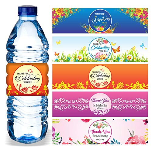 Water Bottle Wrappers (Water Bottle Labels (Pack of 100/5 Designs) Waterproof Wrap Around 8.5