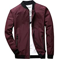 Earlish Men's Long Sleeve Slim Fit Lightweight Bike Motocycle Cotton Bomber Jacket Dark Red TagsizeL=USsizeS