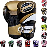 Farabi Pro Fighter Boxing Gloves Sparring Gym Bag Punching Focus Pad Mitts (Golden, 16Oz)