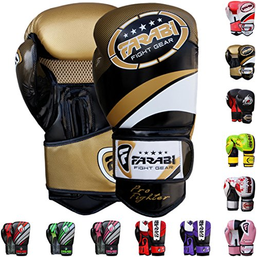 Boxing Fighter - Farabi Pro Fighter Boxing Gloves Sparring Gym Bag Punching Focus Pad Mitts (Gold/Black, 16Oz)