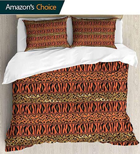shirlyhome Print Comforter Quilt Set,Leopard and Cheetah Skin Savannah Pattern Safari Fauna Primitive Artwork with 1 Pillowcase for Kids Bedding 87