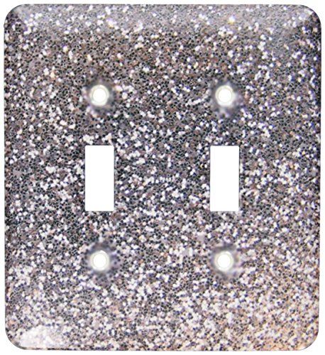 3dRose lsp_112929_2 Silver Faux Glitter - photo of glittery texture - metallic sparkly bling - diva glam sequins glamor Double Toggle Switch, Multicolor