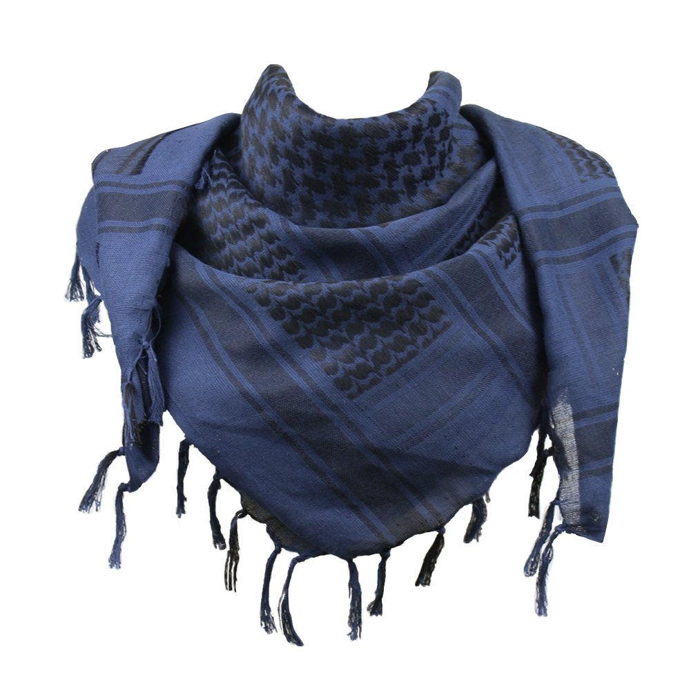 Explore Land 100% Cotton Military Shemagh Tactical Desert Keffiyeh Scarf Wrap (Blue and Black)