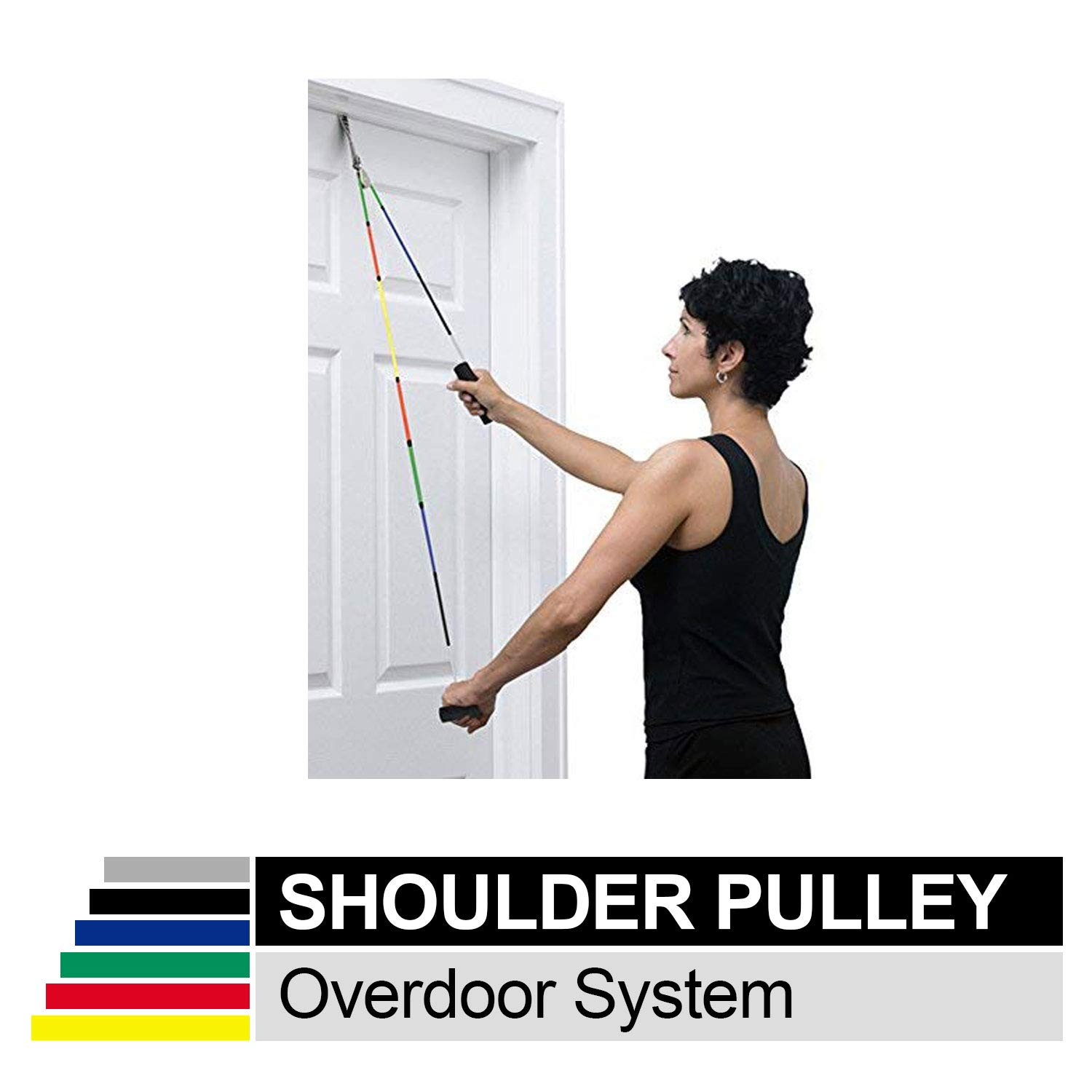 TheraBand Shoulder Pulley, Overhead Shoulder Pulley for Physical Therapy, Over the Door Pulley with Foam Handles and Color Coded Rope for Increasing Range of Motion, Overdoor System for Rehabilitation