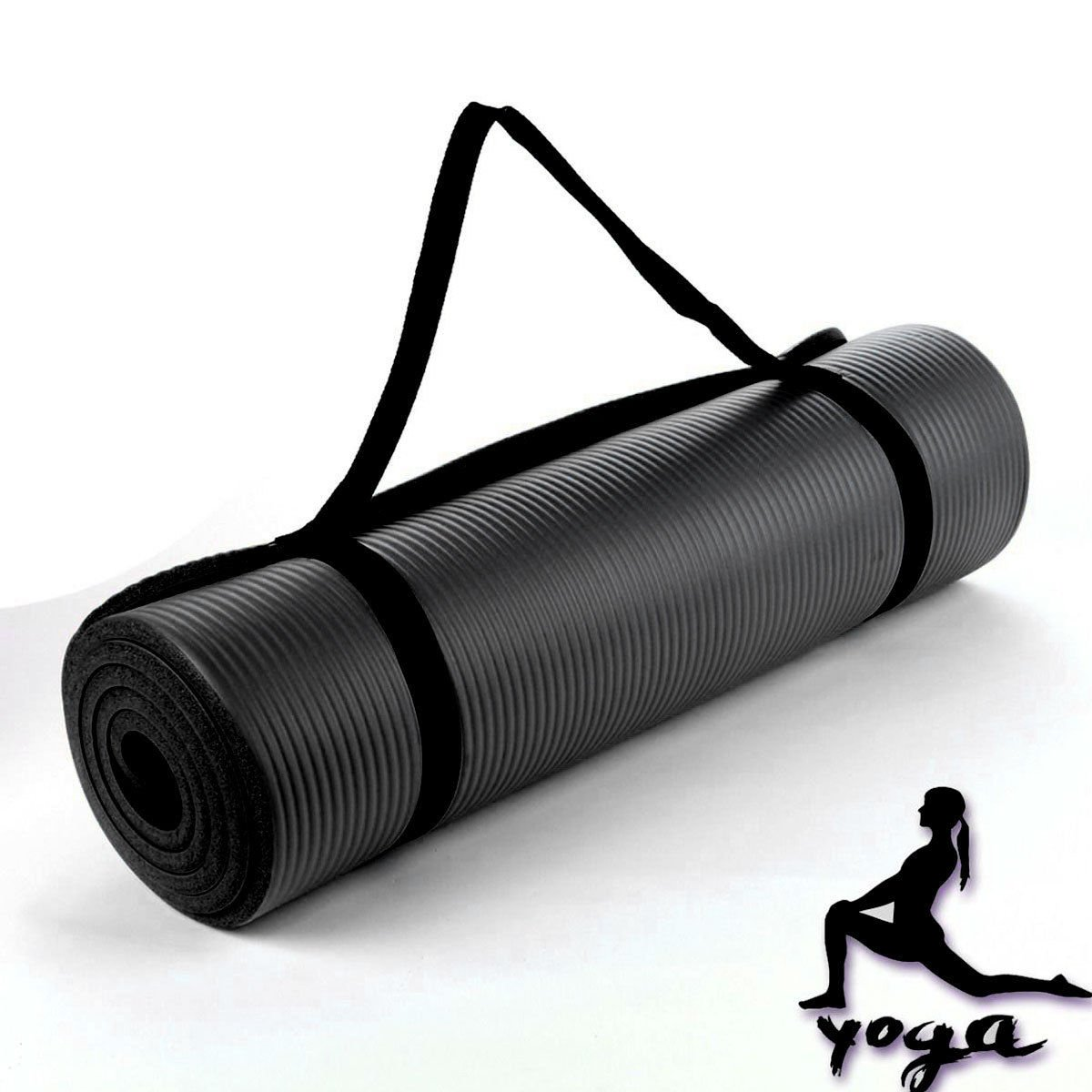 Lions 10mm Exercise Yoga Mat Pilates Physio Gym Camping Non Slip Carry Straps 180x60cm Black