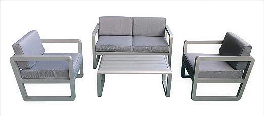 Conjunto de Muebles de jardín de diseño Delfi en Aluminio Negro o Gris, Gris: Amazon.es: Jardín