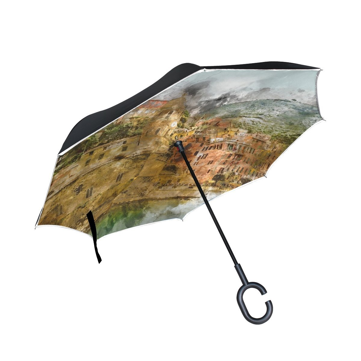 Double Layer Inverted Cinque Terre Italy Beach Amalfi Coast Buildings Umbrellas Reverse Folding Umbrella Windproof Uv Protection Big Straight Umbrella For Car Rain Outdoor With C-shaped Handle