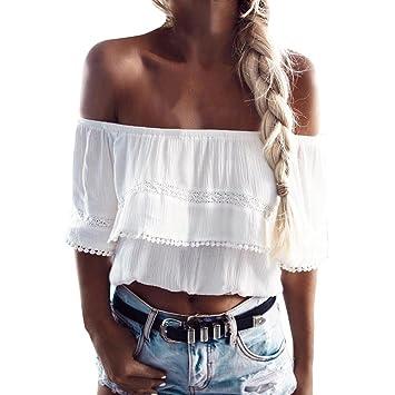 LILICAT® Camisetas de Hombro Mujer, Blusa Tops de Encaje de Gasa de Moda de