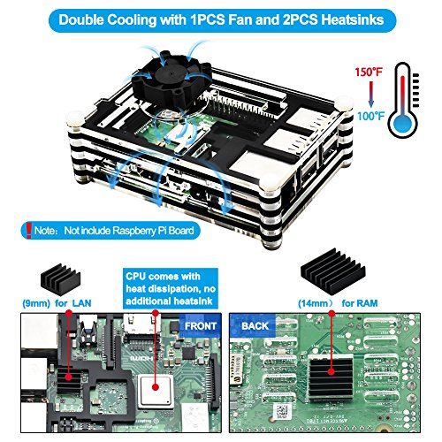 REXQualis Raspberry Pi 3 B+ (B Plus) Case with Fan, 2 Pcs Heatsinks, 2.5A Power Supply, T Type GPIO Breakout board, 40 Pin Rainbow Cable for Raspberry Pi 3 Model B+ (Black + Clear) by REXQualis (Image #1)