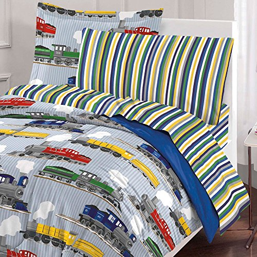 7 Piece Colorful Speedy Trains Patterned Sheet Set Full Size, Featuring Geometric Horizontal Stripes Vibrant Vintage Style Train Bedding, Modern Bed in A Bag Artistic Design Kids Bedroom, Multicolor by SE (Image #1)