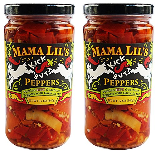 Mama Lil's Kick Butt Goathorn Peppers, 12 oz (Pack of 2)