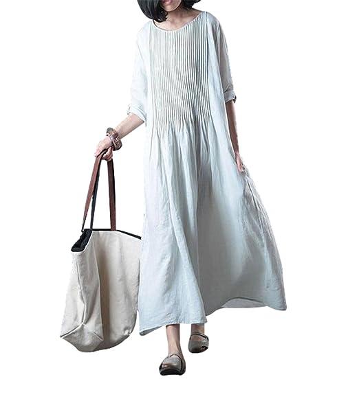 83f704117b BUYKUD Women Linen Cotton Solid Color Loose Spring Summer Dress Plus Size  Folded Pocket Women Elbow