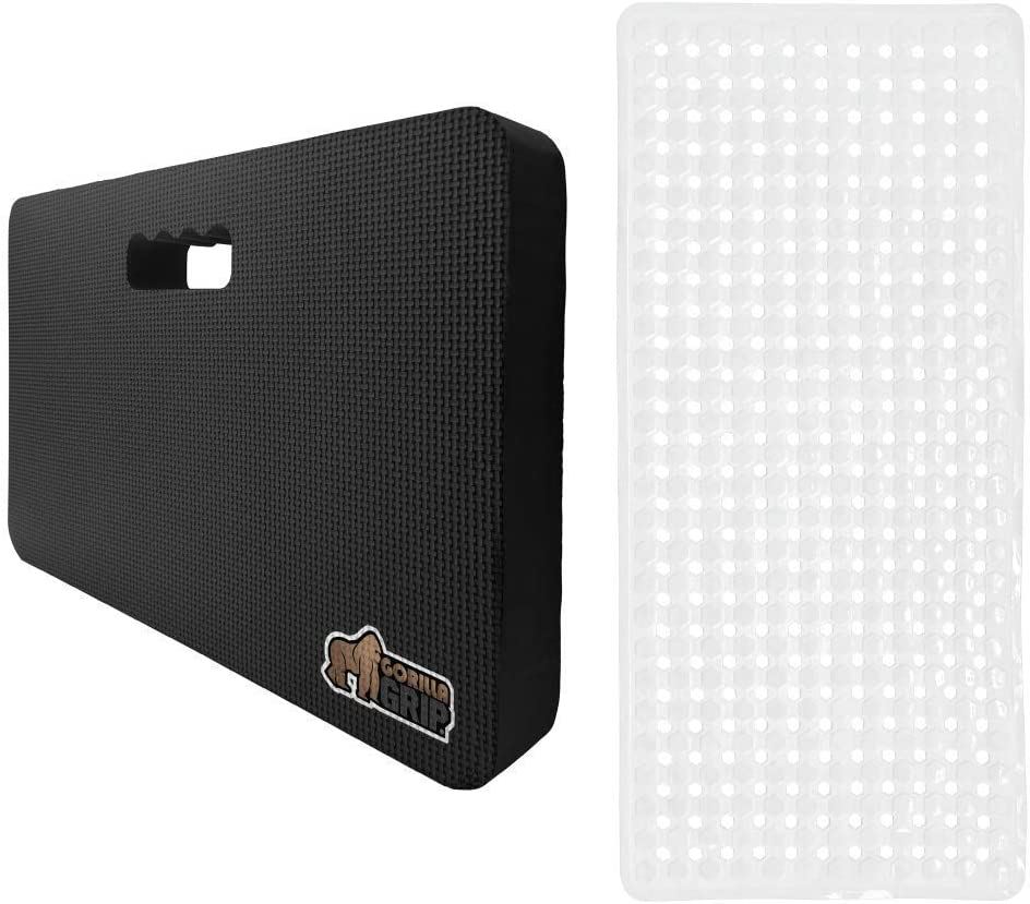 Gorilla Grip Kneeling Pad and Bath Tub Mat, Kneeling Pad Size is 17.5x11x1.5 in Black Color, Comfortable Foam Mat to Kneel On, Bath Mat Size is 35x16 and Machine Washable, BPA Free, 2 Item Bundle