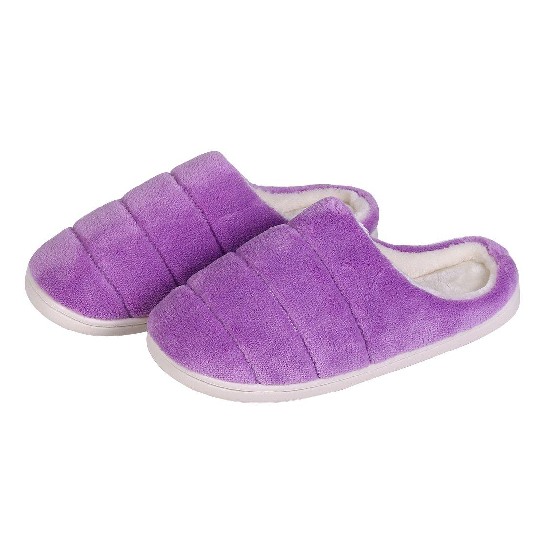 Buganda Women's Soft Winter Warm Memory Foam Coral Fleece House Slippers Slip On Home Plush Lining Slippers