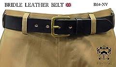 Tusting Bridle Leather Belt R04: Navy