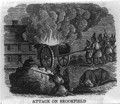 Photo  Indians Attacking Building In Brookfield Worcester County Ma Massachusetts 1675