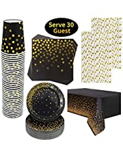 Rorchio 151pcs Black and Gold Party Supplies, Disposable Tableware Set include Paper Plates Dissert Plates, Napkin, Paper Straws and Party Tablecloth for Birthday Party Supplies